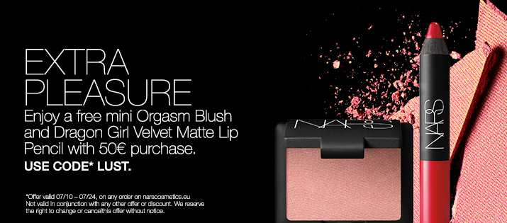 EXTRA PLEASURE. Enjoy a free mini Orgasm Blush and Dragon Girl Velvet Matte Lip Pencil with 50£ purchase. USE CODE LUST. REDEEM NOW